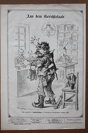 Aus dem Gerichtssaale, Lithographie um 1870 mit humoristischer Gerichtsdarstellung, Blattgrö&...