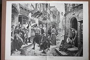 Eine Verhaftung, Straße, Kinder, Tränen, Fachwerk, großformatiger Holzstich 1880 ...