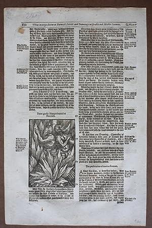 Märtyrer, Scheiterhaufen, Norwich, original Holzschnitt von 1604, Blattgröße: 34,7 ...