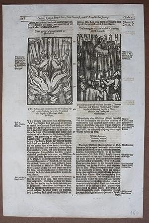 Märtyrer, Scheiterhaufen, Smithfield, Hereford, Wales, William Nichol, Holzschnitt von 1604, ...