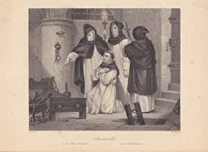Savonarola in der Folterkammer, Streckbank, Kerker, Mönche, Stahlstich um 1850 von W. French ...