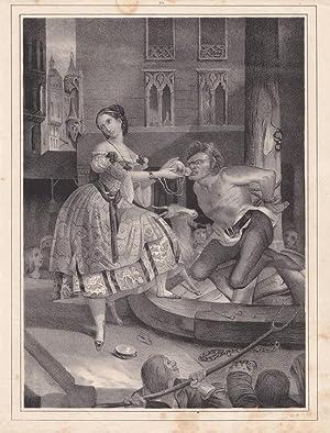 Pranger, Schandpfahl, Sträfling, Marktplatz, Lithographie um 1845, Blattgröße: 26 x...