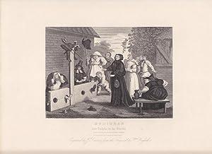 Hudibras and Ralpho in the Stocks, Pranger, Stahlstich um 1860 von J. Romney nach William Hogarth, ...
