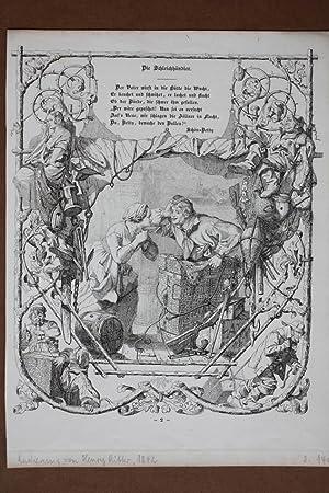 Die Schleichhändler, Schmuggler, Schön Betty, Zöllner, Radierung von 1842 von Henry ...