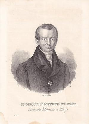 Professor Dr. Gottfried Hermann, Senior der Universität zu Leipzig, Lithographie um 1840 von C...