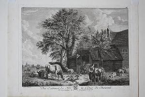 Rinder, Bauernhof, Schweine, Stall, französischer Kupferstich um 1770 nach A.D. van Velde, ...