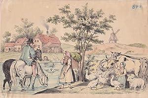 Bauernhof, Rinder, Mühle, Gänsemagd, Pferde, altkolorierte Lithographie um 1870, Blatt-, ...