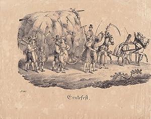 Ernefest, Pferdefuhrwerk, Bauern, Heuwagen, Lithographie um 1830, Blattgröße: 18,5 x 23 ...