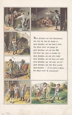 Bauern, Rinder, Pferde, Ernte, Hänschen, altkolorierte Lithographie um 1880 mit sechs ...
