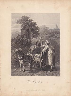 Die Herzensfrage, Romanze, Bauern, Esel, Fuhrwerk, Stahlstich um 1850 von Heawood nach Toussaint ...