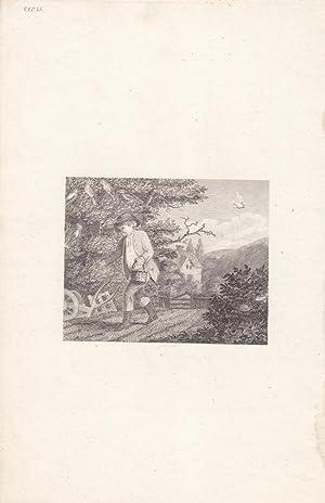 Aussaat, Acker, Feld, Bauer, Dorf, Kupferstich um 1780, Blattgröße: 25 x 15,3 cm, reine ...