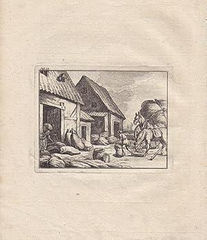 Das Magazin, Ackerbau, Bauern, Pferde, Säcke, Kupferstich um 1776, anhängend weiteres ...