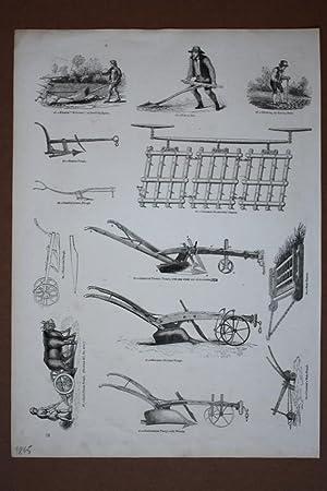 Ackerbau, Pflug, Bauern, Holzstich um 1845 mit mehreren Einzelabbildungen, Blattgröße: ...