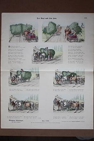 Der Nazi und sein Heu, Bauer, Heuwagen, Pferde, altkolorierter Holzstich um 1891 mit Bilderfolge ...