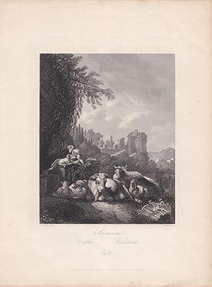 Animaux, Viehstück, Rinder, Ruinen, Hirtin, Stahlstich um 1850 von T. Heawood nach H. Roos, ...
