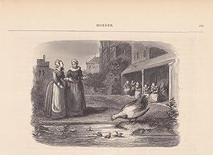 Hühner, Frauen, Handarbeit, Enten, Kücken, Holzstich um 1850, Blattgröße: 17,5...