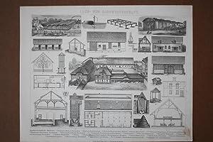 Land- und Hauswirtschaft, Ställe, Architektur, Holzstich um 1880 mit Einzelabbildungen, ...