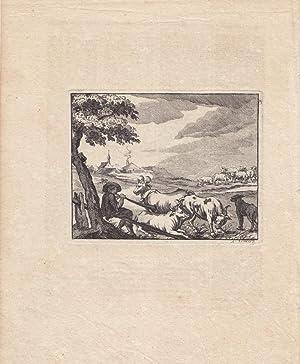 Die Viehzucht, Rinder, Hirte, Landleben, Dorf, Kupferstich von 1781 anhängend zweites Blatt ...
