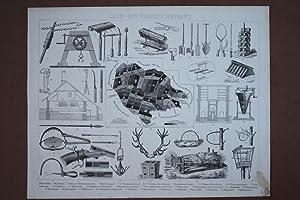 Land- und Hauswirtschaft, Fallen, Gewehre, Revier, Holzstich um 1880 mit mehreren Einzelabbildungen...