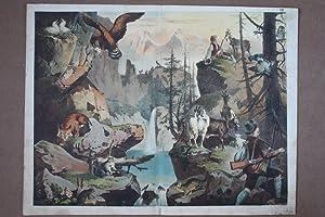 Förster, Jäger, Wildtiere, Ziegen, Natur, Eule, Rebhuhn, Chromolithographie um 1895, ...