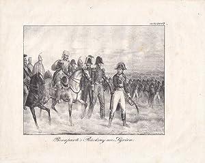 Bonaparte s Rückzug aus Syrien, Napoleon (1769 - 1821), Kaiser, Schlacht, Lithograhie aus dem ...