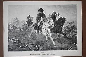 Napoleon bei Waterloo, Bonaparte (1769 - 1821), Kaiser, Frankreich, großformatiger Holzstich ...