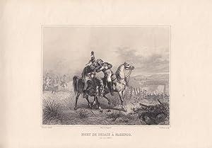 Schlacht bei Marengo, Louis Charles Antoine Desaix (1768 - 1800), Schlachtfeld, Stahlstich um 1860 ...