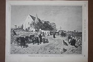 Sonntagmorgen vor einer Kirche in Esthland, Holzstich von 1888 nach Gregor on Bochmann, Blattgr&...