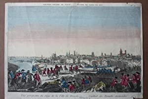 Danzig, Polen, Vue perspective du siége de la Ville de Dresde, altkolorierter Kupferstich um...