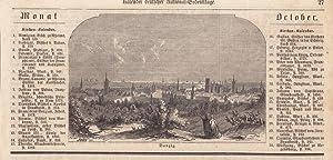 Danzig, Polen, Holzstich um 1855 mit Blick auf die Stadtsilhouette daneben typographisch bedruckt, ...