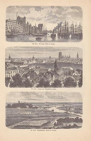Danzig, Polen, Lange Brücke, Bischofsberge, Hafen, Holzstich um 1886 mit drei ...