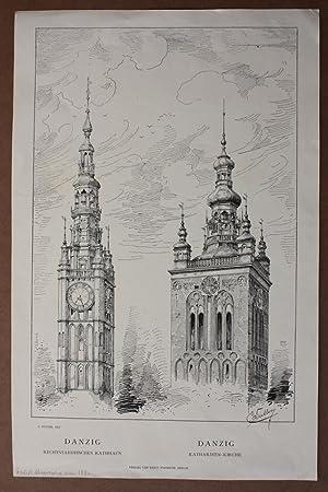 Polen, Danzig, Rechtsstädtisches Rathhaus, Katharinen-Kirche, Federlithographie um 1880 nach C...