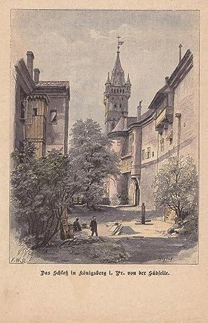 Das Schloß in Königsberg in Preußen von der Südseite, altkolorierter ...