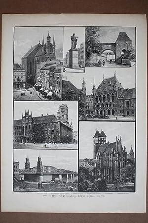 Bilder aus Thorn, Torun, Polen, Holzstich um 1893 als Sammelblatt mit sieben Einzelabbildungen, ...