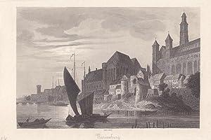 Marienburg, Hafen, Schiff, Stahlstich um 1860 mit Blick auf die Burganlage vom Wasser aus, Blattgr&...