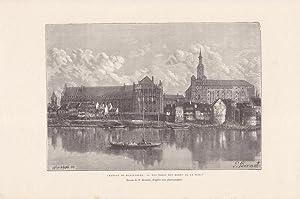 Marienburg - Chateau de Marienburg, Holzstich um 1875 von Hildibrand nach P. Benoist, Blattgrö...