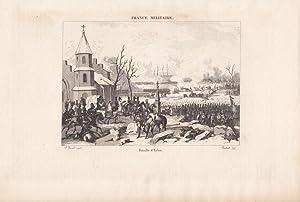 Bataille d Eylau, Schlachtfeld, Napoleon, Stahlstich um 1840 aus France Militaire, Blattgrö&...
