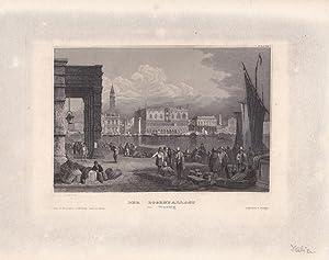 Der Dogenpallast in Venedig, Stahlstich um 1850 von J. Poppel aus dem bibliographischen Institut ...