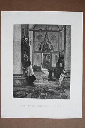 In der Marcuskirche zu Venedig, Radierung von 1895 von L. Schulz nach R. Hagn mit Blick in den ...