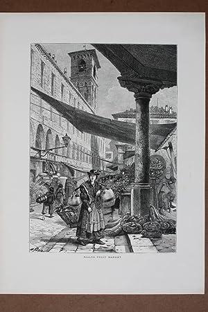 Rialto fruit market, Holzstich um 1878 von Whymper nach H. Fenn, Blattgröße: 31,5 x 23,2...