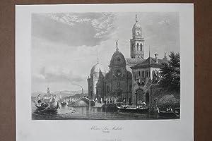 Kloster San Michele, Stahlstich um 1850 von Heawood nach Nash aus dem Haus A.H. Payne, Blattgr&ouml...