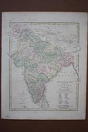 Hindoostan divided into Soubahs according to the Ayin Acbaree, altkolorierter Kupferstich aus dem ...