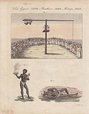 Indische Gaukler, Schlangenbändiger, altkolorierter Kupferstich von 1808 mit drei ...