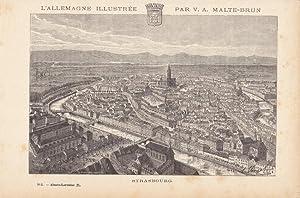 Strasbourg, Straßburg, Ill, Alsace-Lorraien, Holzstich um 1870 von Victor Adolph Malte - Brun...