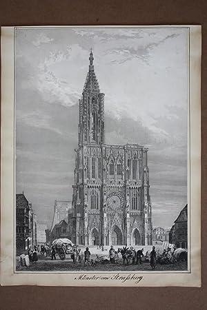 Münster von Strassburg, Kathedrale, Stahlstich um 1850 mit Figurenstaffage, Blattgrö&...