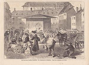 Der Gänsemarkt in Straßburg, Holzstich von 1871 nach einer Zeichnung von A. Beck, ...