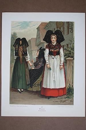 Elsass Geispolsheim, Kostüme, Trachten, Volkskunde, Chromolithographie um 1870 aus dem ...