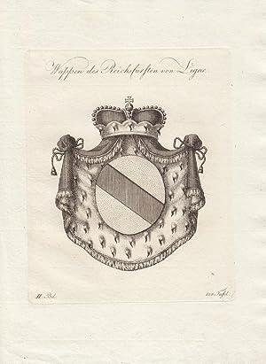 LIGNE: Wappen des Reichfürsten von Ligne (1790). Kupferstiche bei Tyroff, Nürnberg. Ca. ...