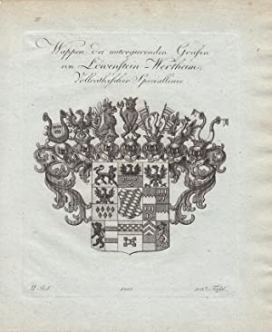 LOEWENSTEIN-WERTHEIM: Wappen der mitregierenden Grafen von Löwenstein-Wertheim (1803). ...