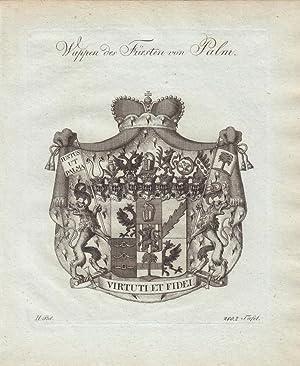 PALM: Wappen des Fürsten von Palm (1790). Kupferstiche bei Tyroff, Nürnberg. Ca. 1786-...